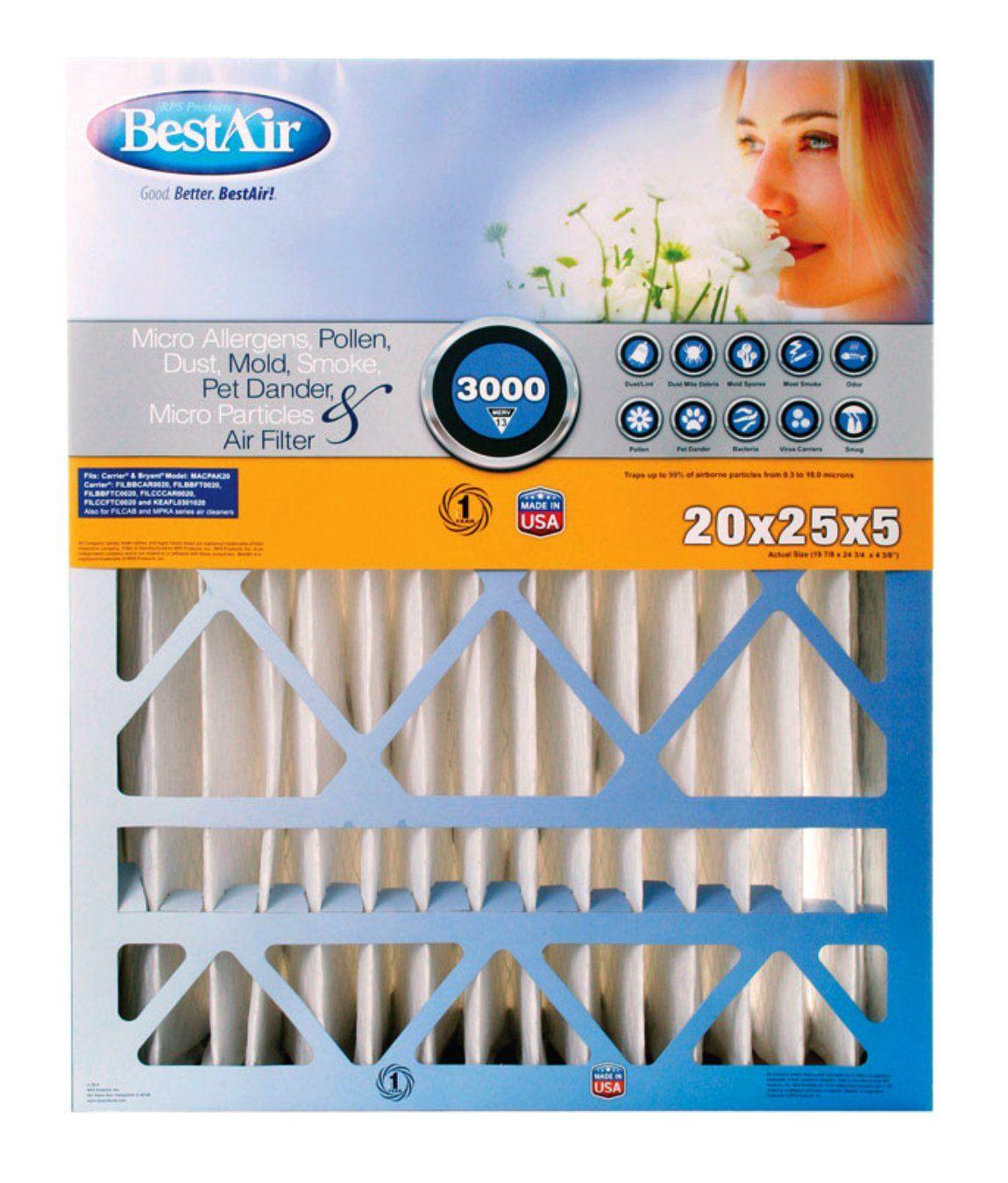 """BestAir CB202513R Air Filter, 20"""" x 25"""" x 5"""" Filters"""