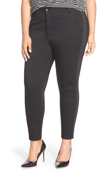 3d03e206b7e Melissa McCarthy Seven7 Tuxedo Stripe Stretch Slim Ankle Jeans (Black) (Plus  Size)