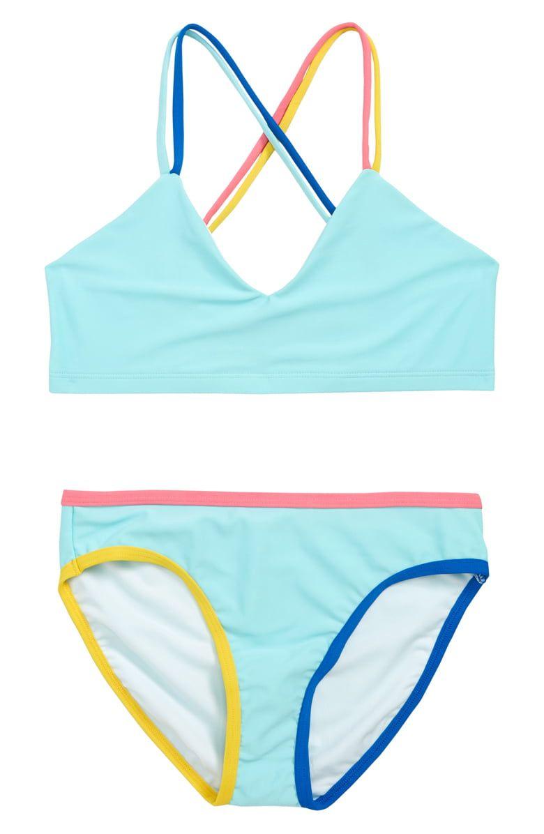 f19defc377dd6 Tucker + Tate Colorblock Trim Two-Piece Swimsuit (Big Girls)   Nordstrom