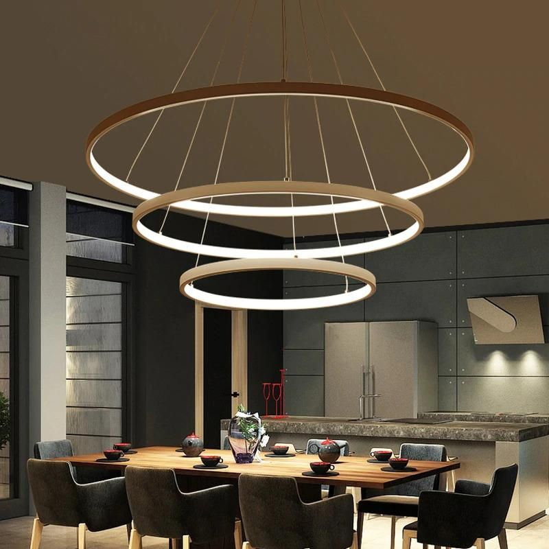 Modern Pendant Lights 4 3 2 1 Circle Rings Acrylic Aluminum Led Pendant Lamp For Living Room Dining Room In 2020 Lamps Living Room Living Room Lighting Aluminum Pendant Lighting