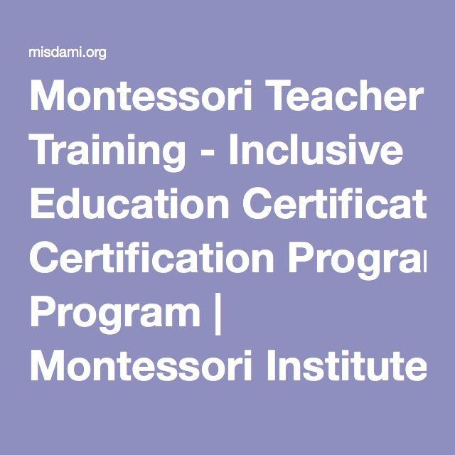 Montessori Teacher Training Inclusive Education Certification