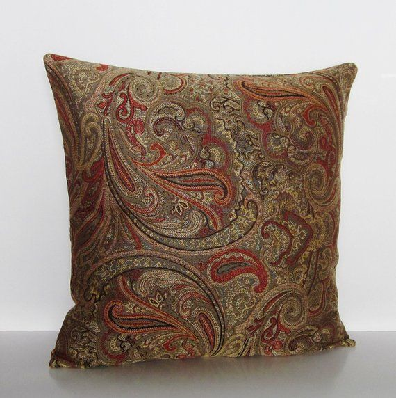Best Paisley Pillow Cover Brown Bronze Rust Orange 400 x 300