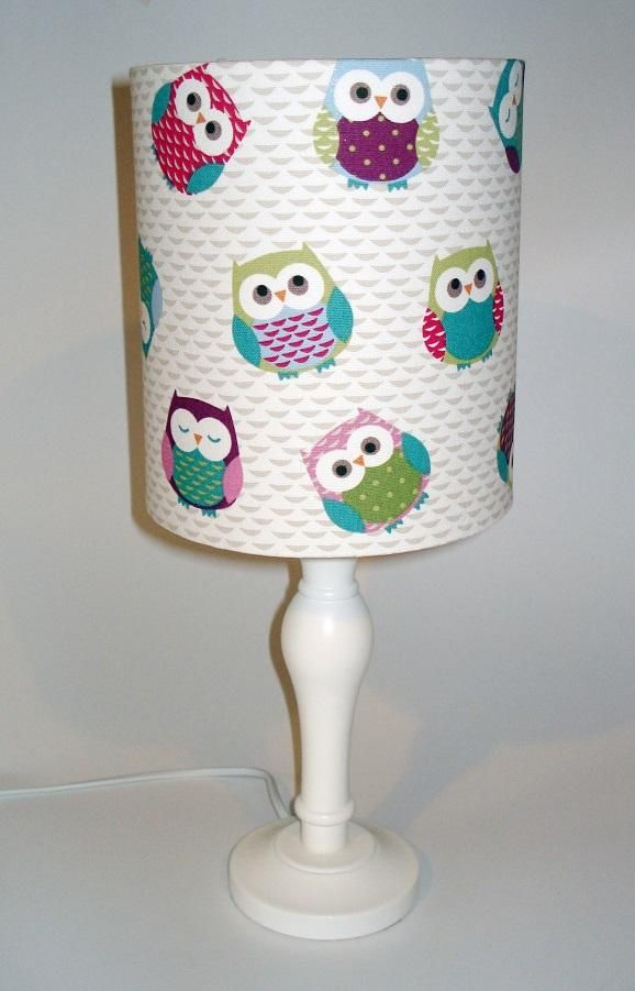 Owls fabric lampshade for ceiling or bedside lights Hippins for baby gifts nursery furniture and childrens curtains & bedding Other owl bits available