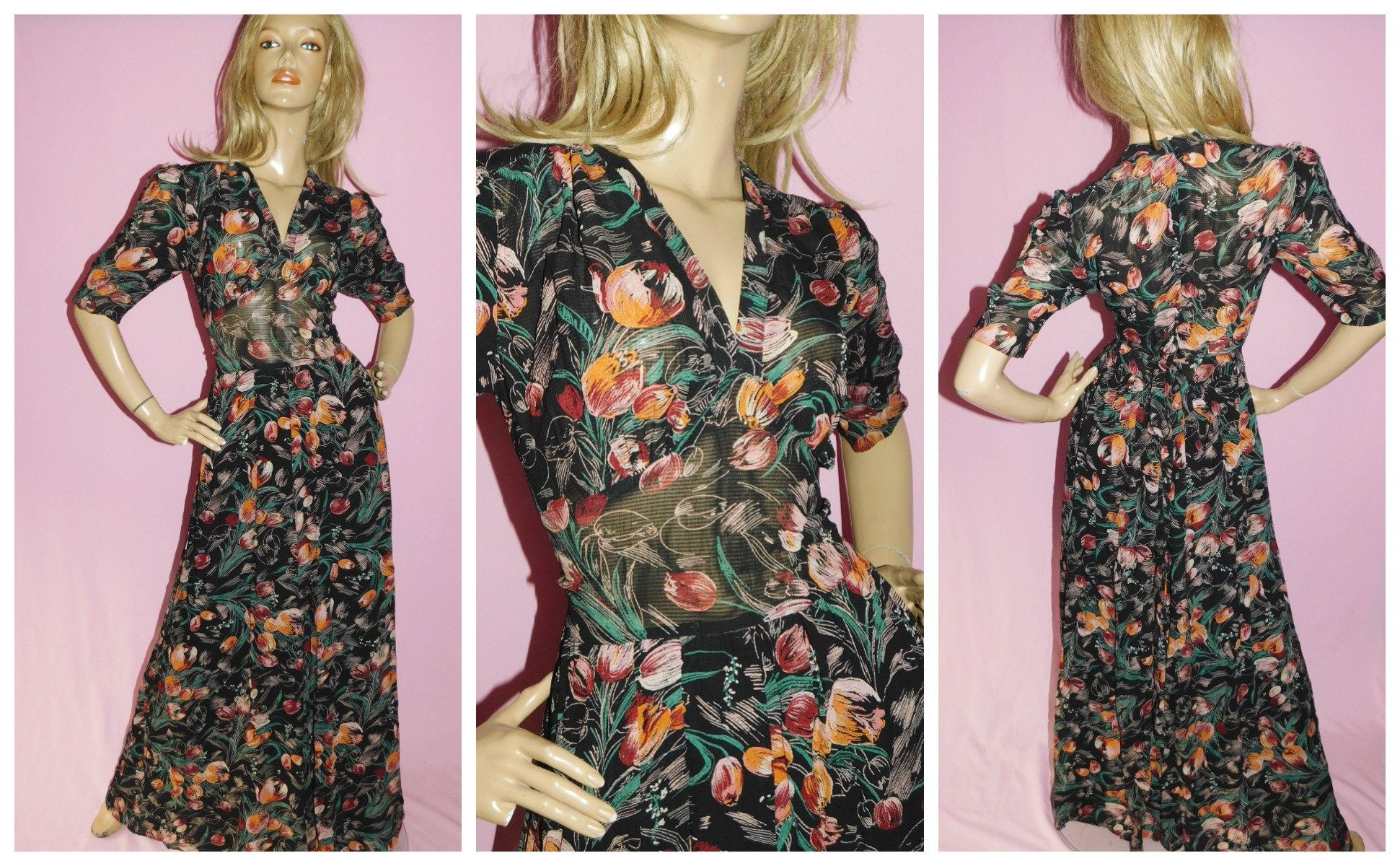 70s Party Outfit Fit and Flare Floral Dress Bohemian Clothing Vintage 1970s Sheer Floral Boho Dress Boho Chic 70s Clothing
