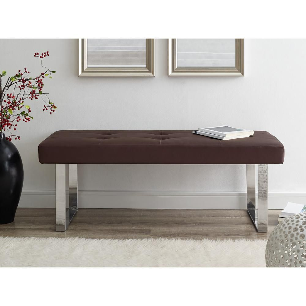 Inspired Home Alonso Brown/Chrome PU Leather Bench Square
