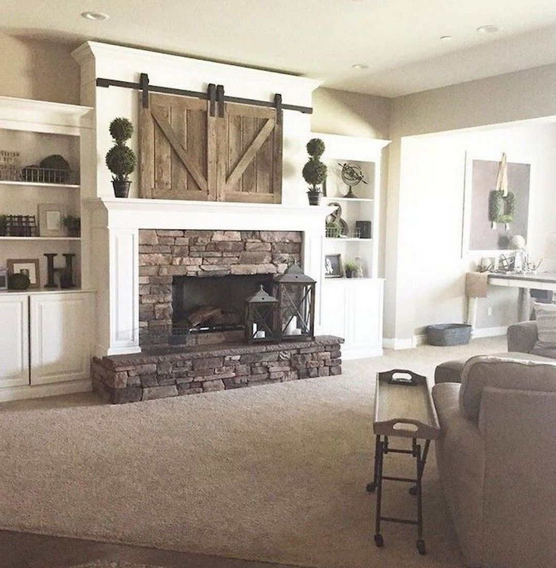 farmhouse style tv stand with fireplace