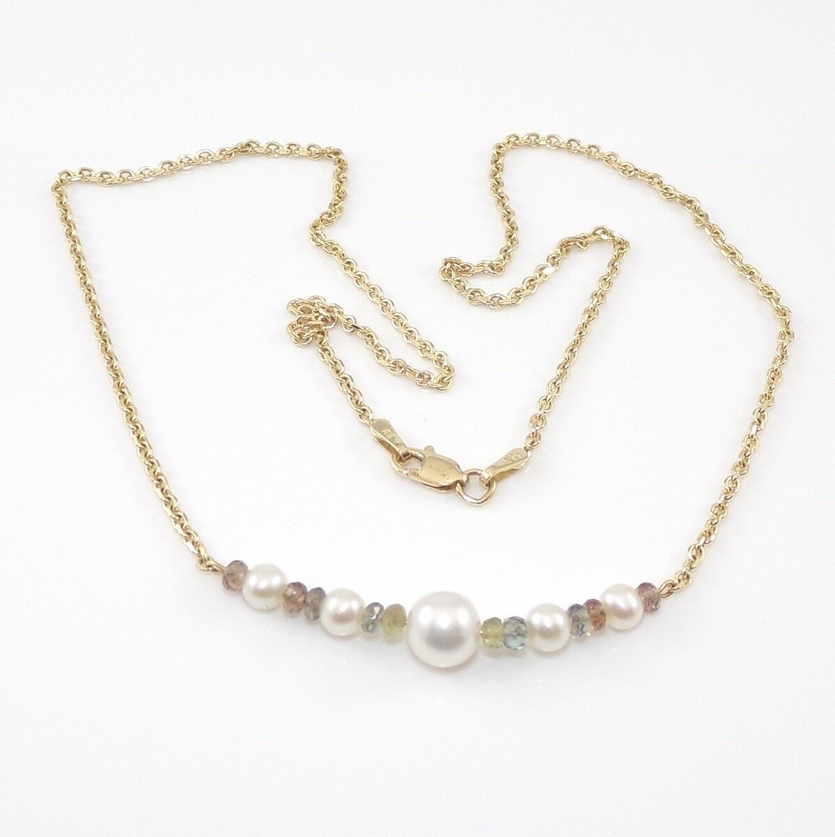 Necklace Choker Pearl Bead Gold Cable Chain Minimal Jewelry 14-20 Inches Bride