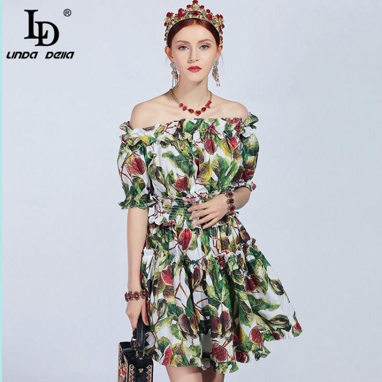 86913e826d32 Fashion Runway Summer Cotton Dress Women s Slash neck Off the Shoulder  Ruffles fruit Printed Mini Dress