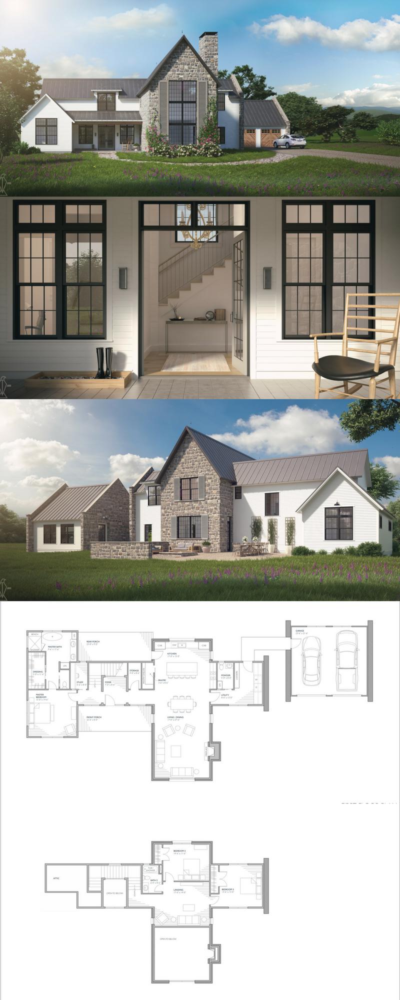Aubrac Country House Plans Farmhouse Style House Farmhouse Exterior
