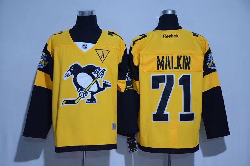 NHL Men s Pittsburgh Penguins  71 Evgeni Malkin Yellow 2017 Winter Classic  Hockey Jerseys b86f38e84