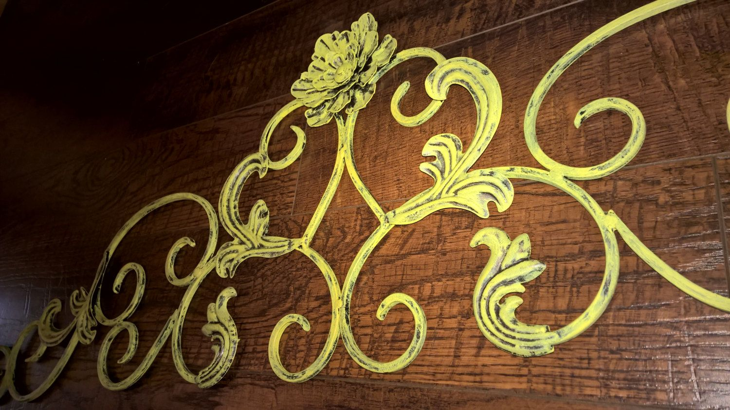 Hand-Repainted Metal Wall Decor - Flower and Scroll Design (Large ...