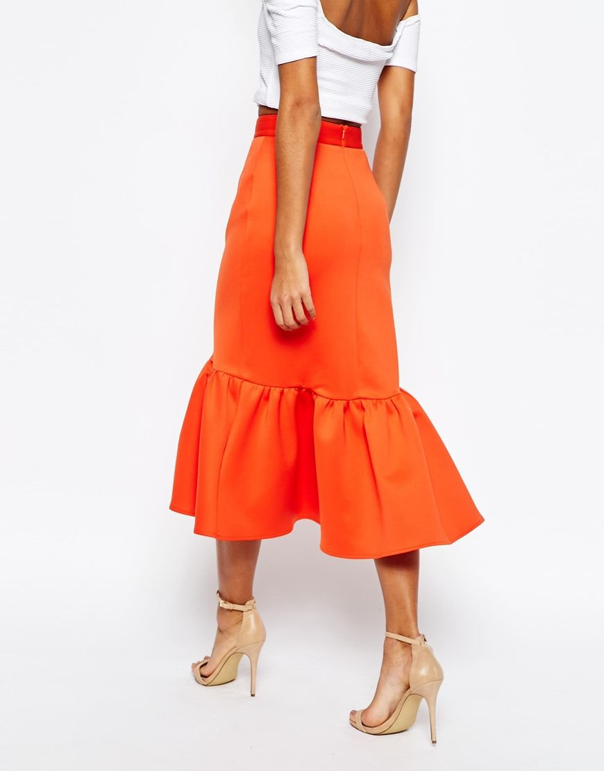 ASOS Scuba Midi Skirt with Tiered Hem