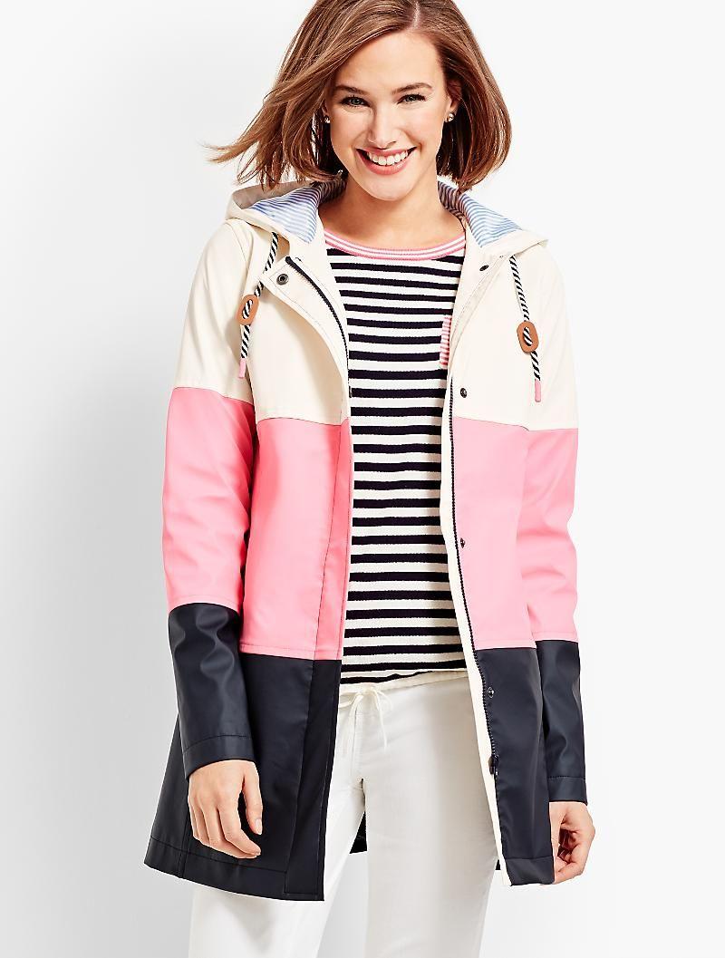Colorblock Raincoat Talbots Fashion Raincoats For Women Clothes [ 1057 x 800 Pixel ]