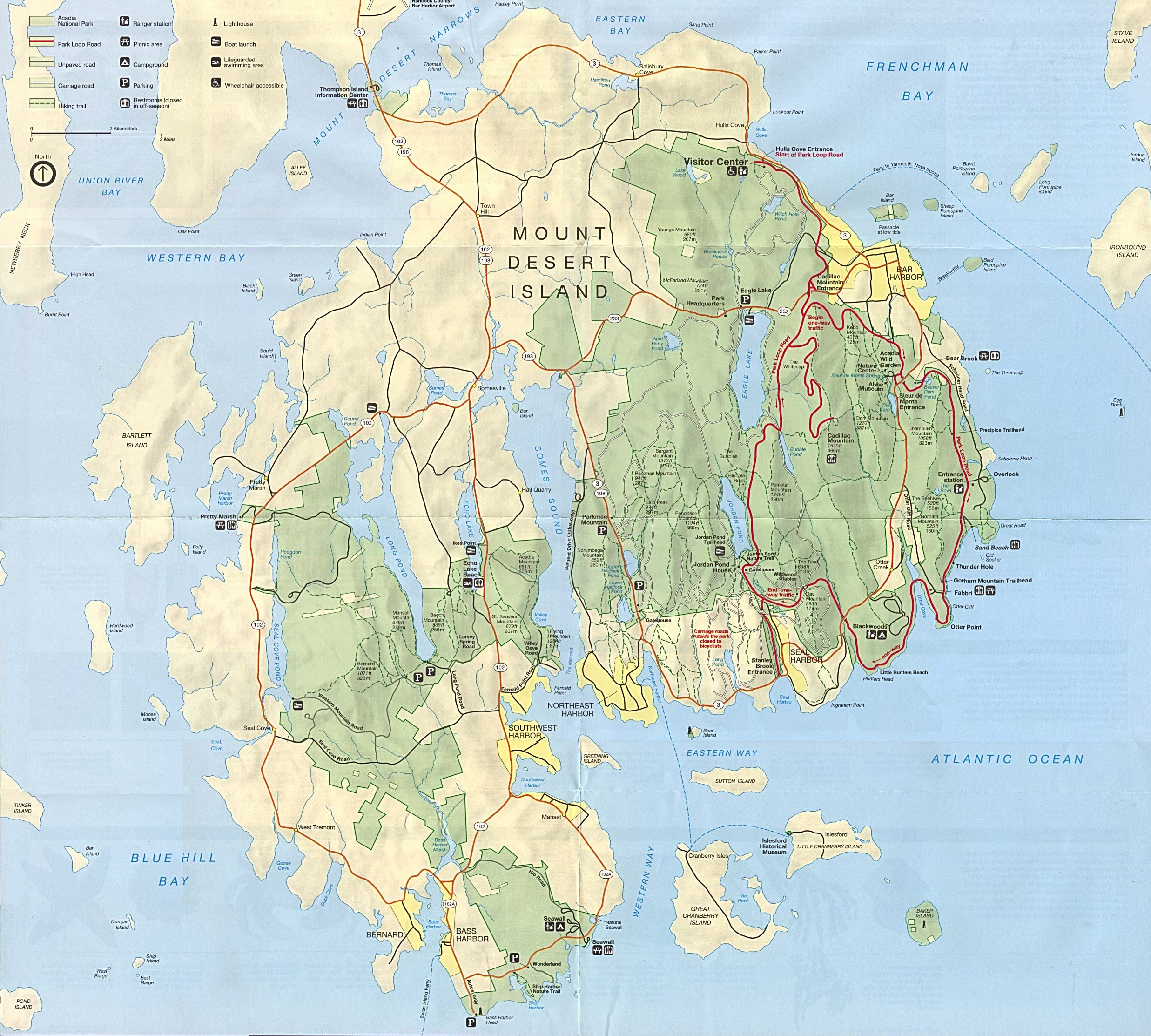 Mount Desert Island Acadia National Park Map The World It A - Map of national parks in united states