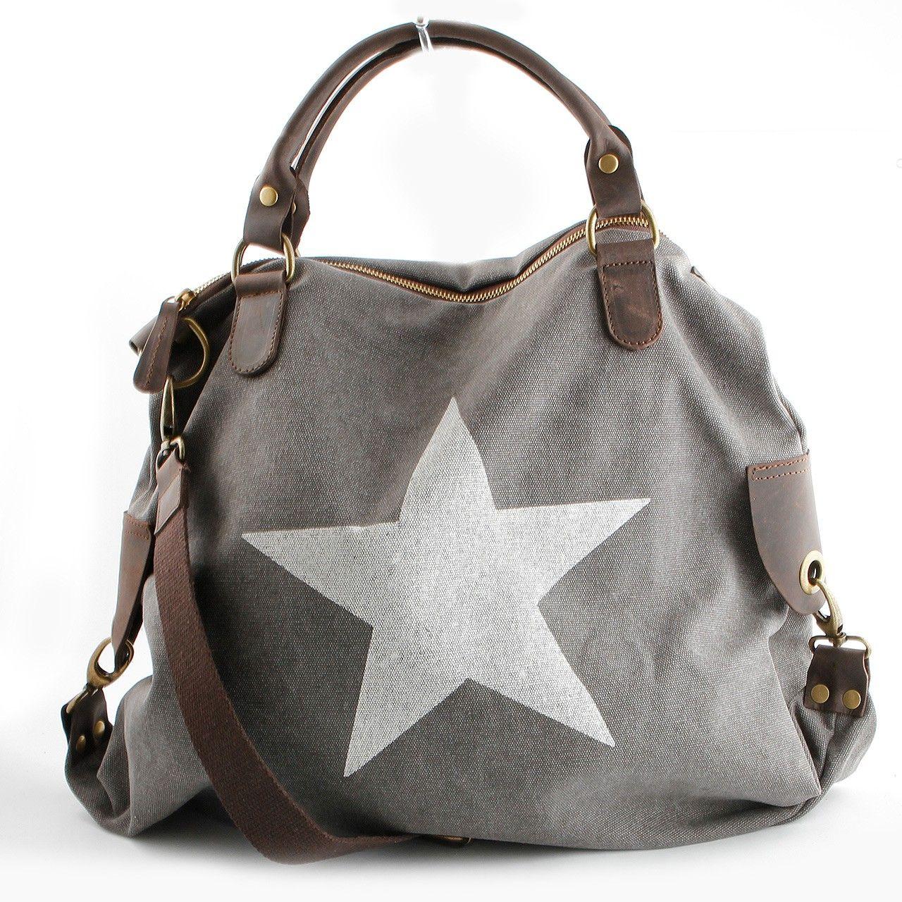 tasche mit stern grau taschen pinterest beuteltasche innentasche und modisch. Black Bedroom Furniture Sets. Home Design Ideas