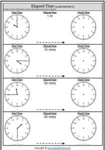 Elapsed Time Worksheets and Activities • EasyTeaching.net