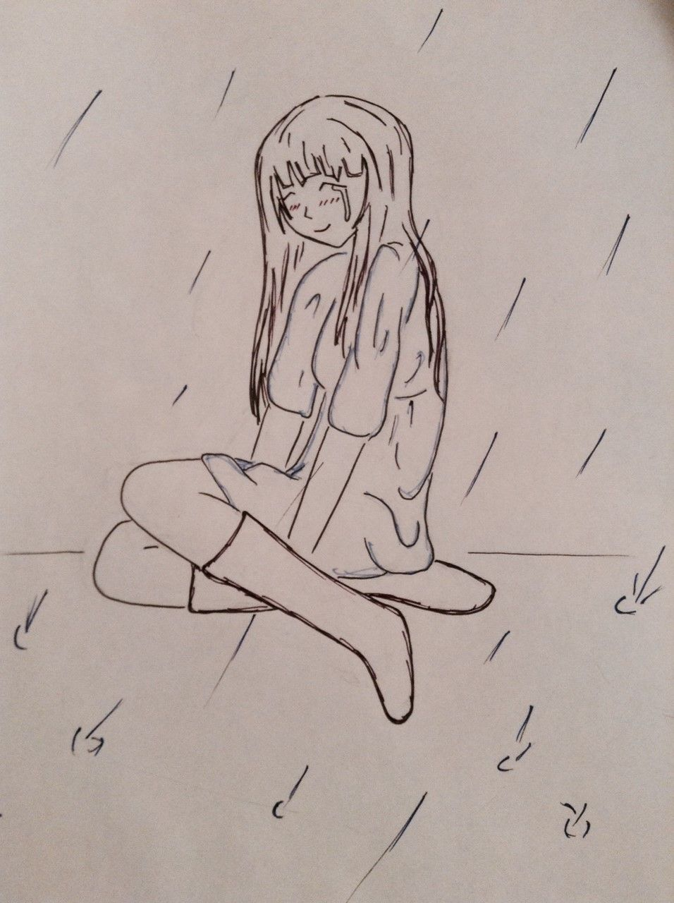 anime cry sad smile rain manga girl blue Sad