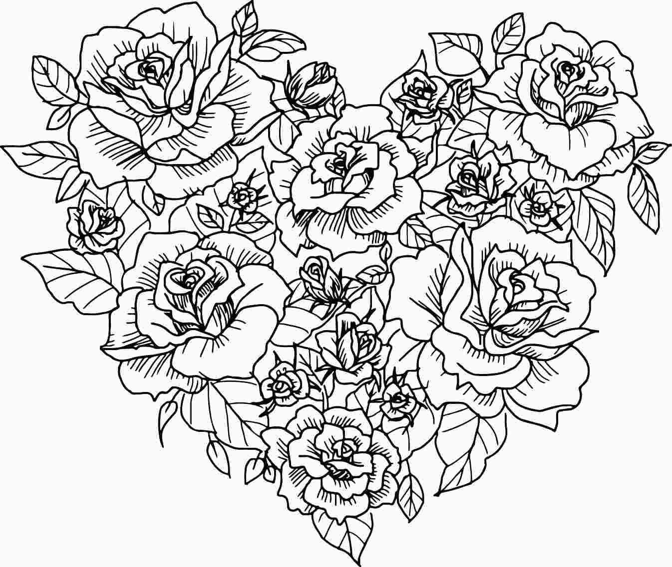 Free Coloring Pages Flowers Hearts Heart Coloring Pages Valentine Coloring Pages Rose Coloring Pages
