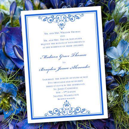 Royal Blue Wedding Invitation Template Editable Microsoft Word - copy letter format invitation