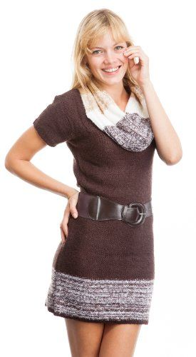 Plus Size Curve Appeal Cowl Neck Belted Short Sleeve Sweater Dress