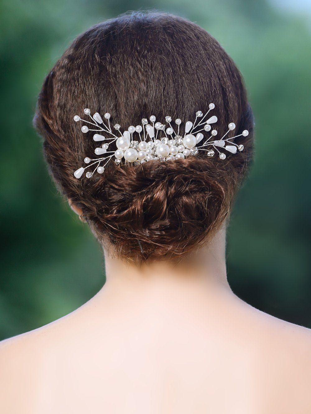 yean wedding hair combs bridal hair silver comb for bride