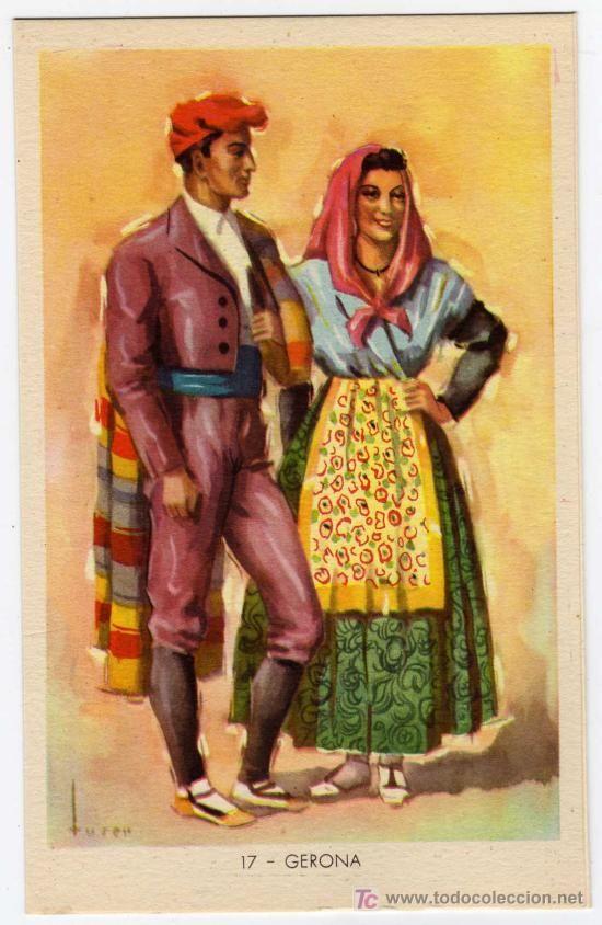 d083f1cea4422 BONITA POSTAL - GERONA - PAREJA CON TRAJE REGIONAL (Postales - España -  Cataluña Antigua (hasta 1939) - Girona)