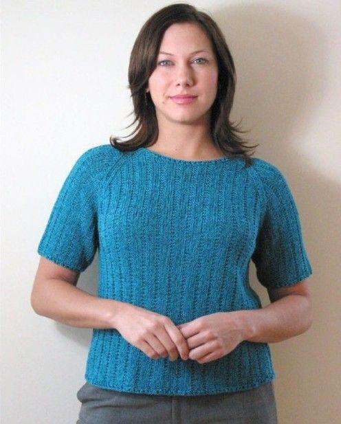 Diamond Yarn--Short Sleeve Raglan Sweater