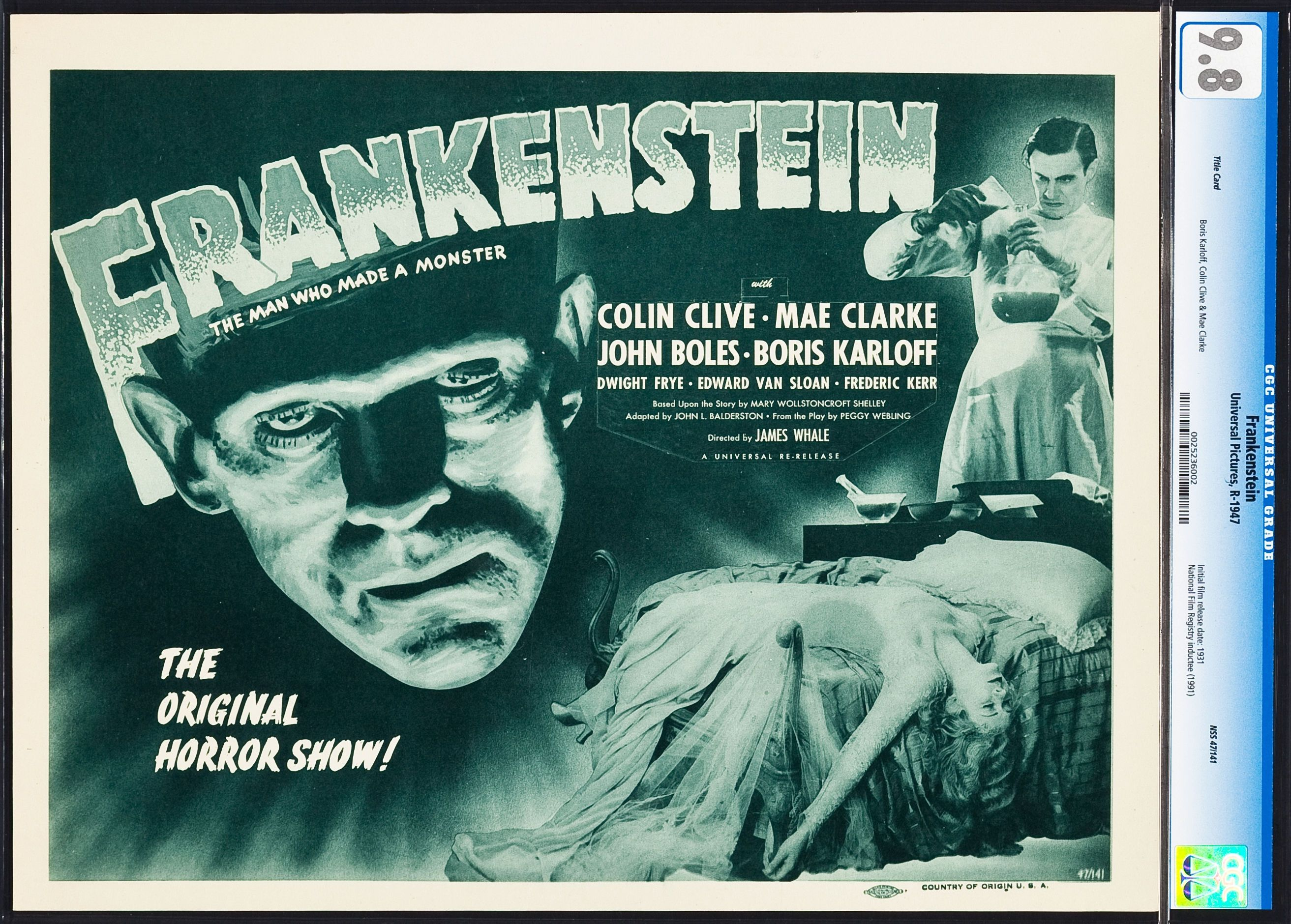Frankenstein Universal R 1947 Cgc Graded Title Lobby Card Lot 86283 Heritage Auctions Monster Horror Movies Lobby Cards Frankenstein