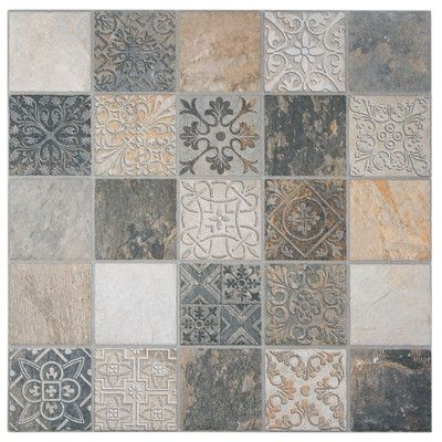 """EliteTile Deco Maximiliano 17.5"""" x 17.5"""" Porcelain Textured Floor and Wall Tile in Multi"""