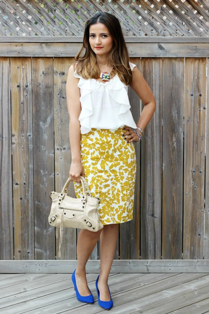 16037626f6c Mustard with Pops of Blue  Bloom Pencil Skirt   LOFT Fall Preview ...