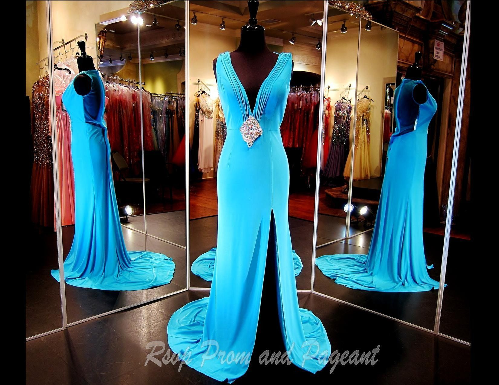 Aqua Jersey V Neck Evening Gown-Slit-Illusion Back-Matching | Prom ...