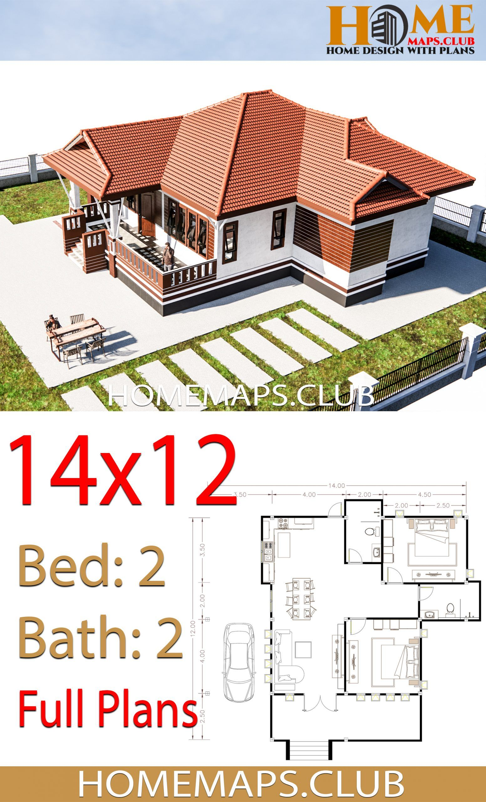 House Plans 14x12 With 2 Bedrooms Hip Roof Hip Roof House Plans House Design