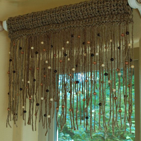 Natural, 100% jute crochet window valance 18'' long with wooden ...
