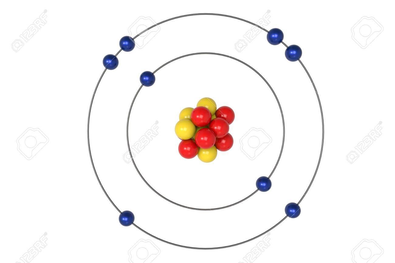 oxygen atom bohr model with proton neutron and electron 3d illustration science illustration images bohr model science illustration illustration [ 1300 x 867 Pixel ]