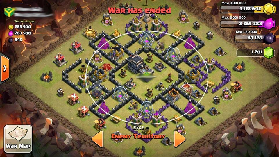 clash of clans th9 war base