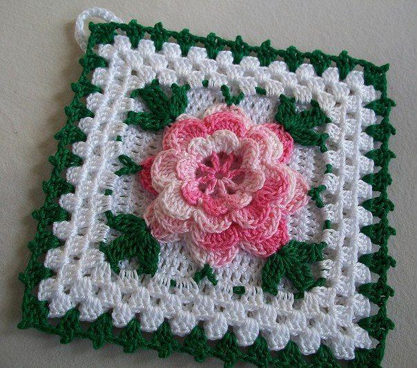 Вязание крючком прихватка с цветком 659
