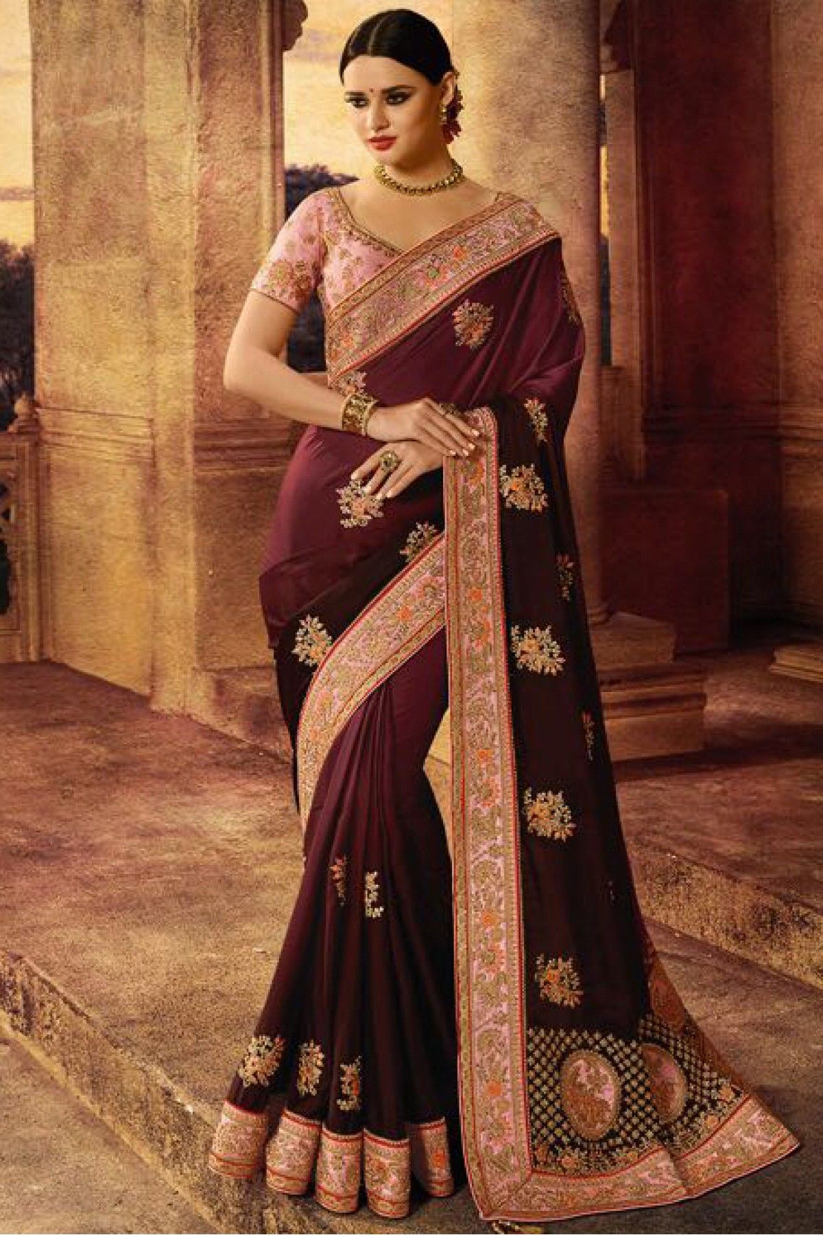 Satin And Silk Saree In Wine Colour Saree Designs Party Wear