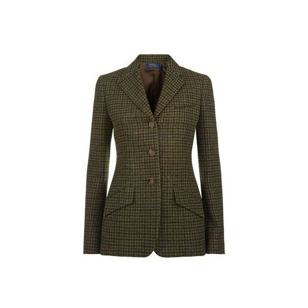 Polo Ralph Lauren Wool Tweed Blazer ($618) ❤ liked on Polyvore featuring outerwear, jackets, blazers, wool tweed jacket, tweed blazer, brown tweed jacket, wool blazer and wool jacket