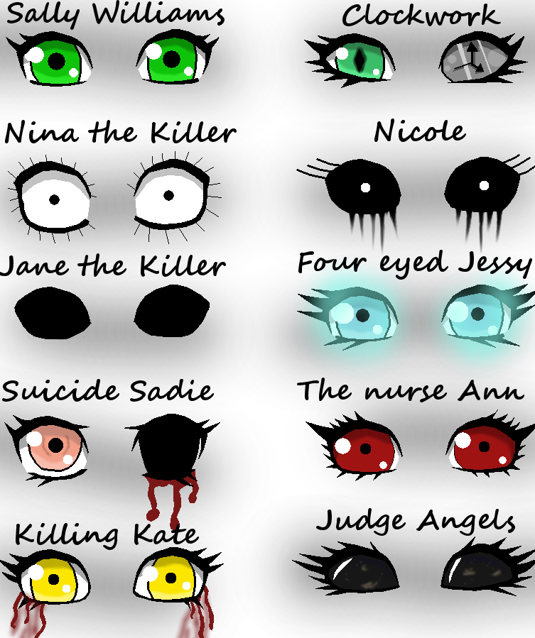 Yeah i really love the different eyes of the Creepypasta