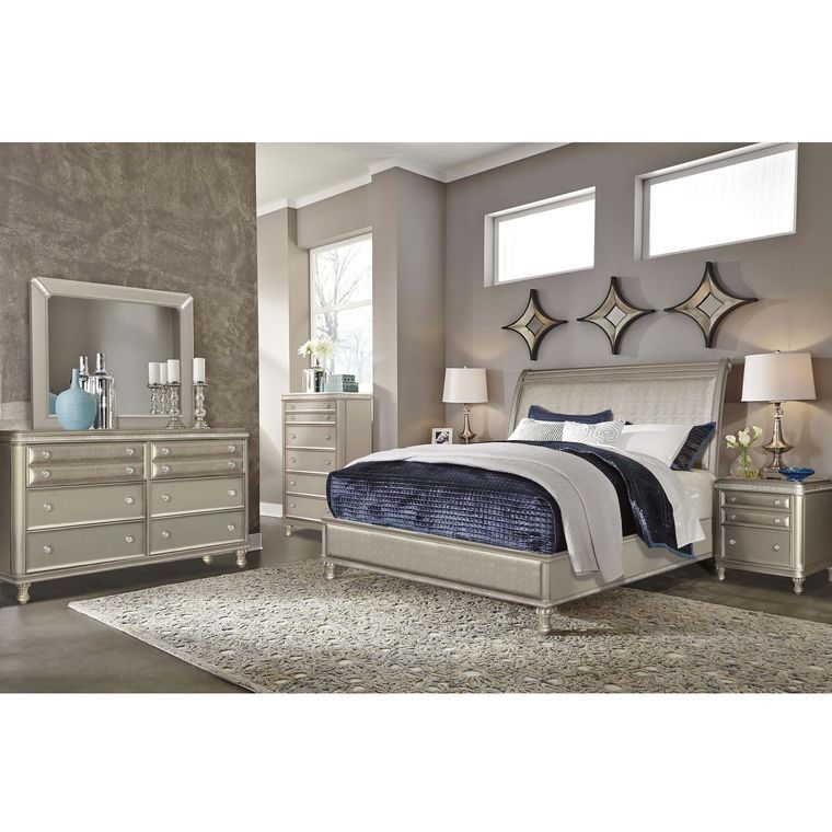 7 Piece Glam Queen Bedroom Collection Ashley Furniture Bedroom