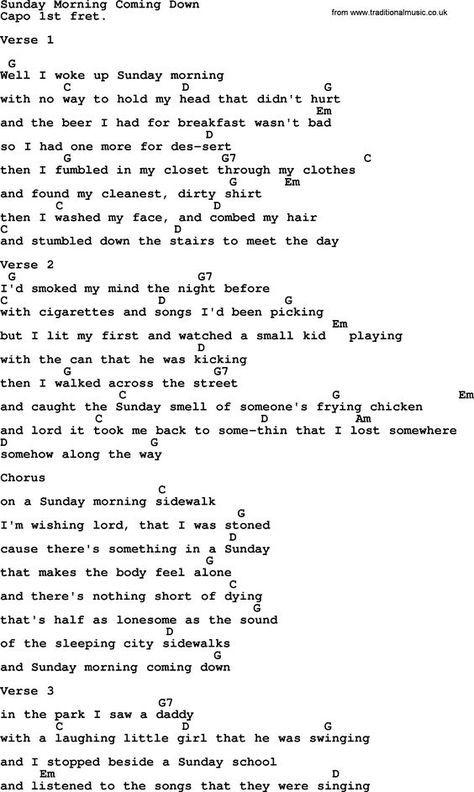 Johnny Cash song Sunday Morning Coming Down, lyrics and chords ...