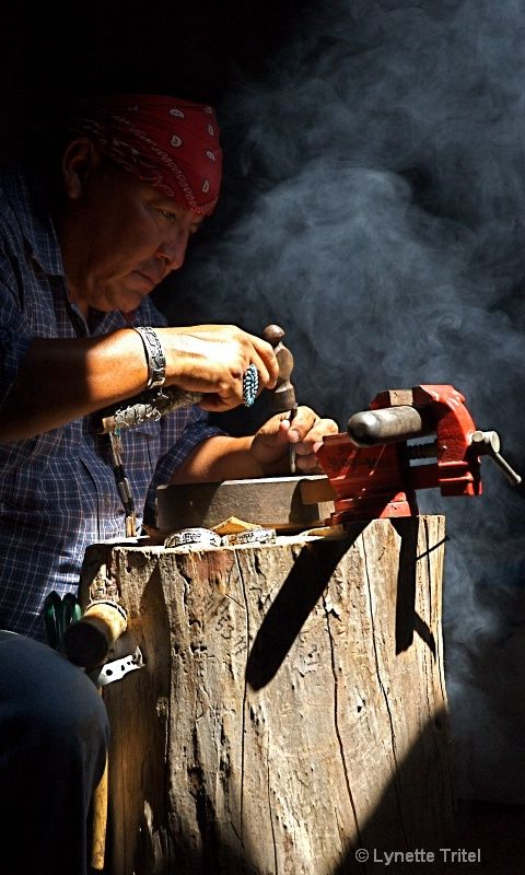 Navajos of Canyon de Chelly:  Traditional Silversmith ©Lynette  Tritel