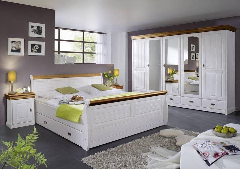 COLOSSEO Schlafzimmer Kiefer massiv weiß honig Jetzt bestellen