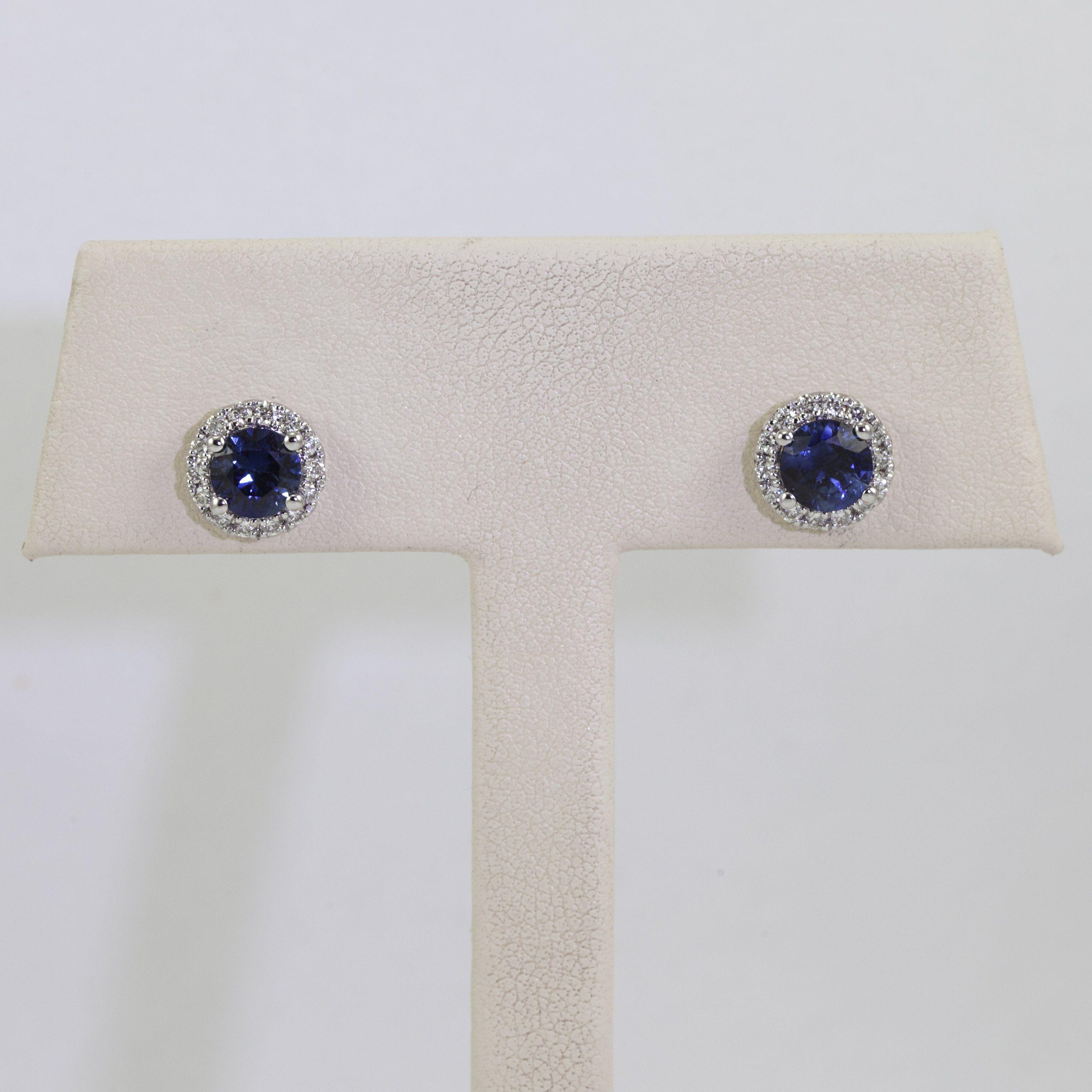 14K White Gold Sapphire and Diamond Stud Earrings