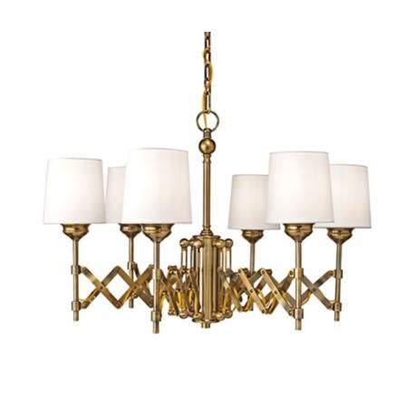 would love this with big globe bulbs and no shades Feiss Hugo 6-Light Expandable Bali Brass Chandelier $770