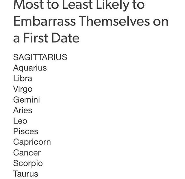 Embarrassing First Dates All The Zodiacs Pinterest Zodiac