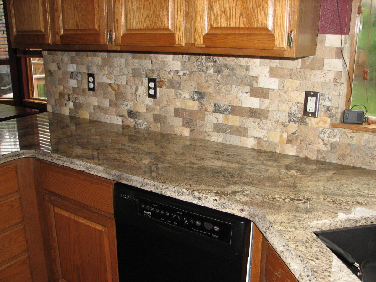 Grey elegant range philadelphia travertine mosaic brick tile backsplassh and granite countertop Kitchen tile backsplash