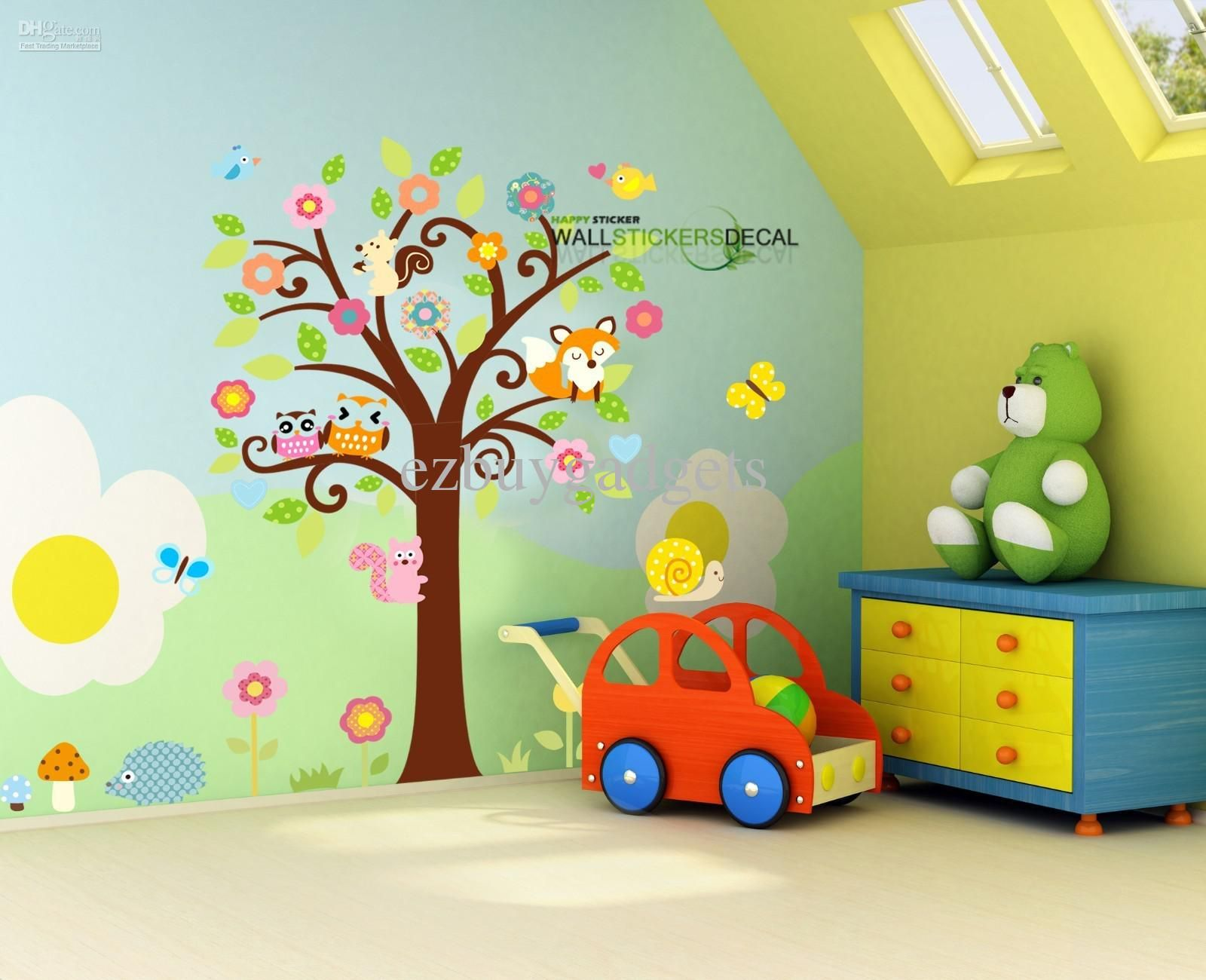 Best Giant Nursery Wall Decal Scroll Tree Owl Jungle Animal Wall Sticker Kids Room Baby Girls Dorm 400 x 300