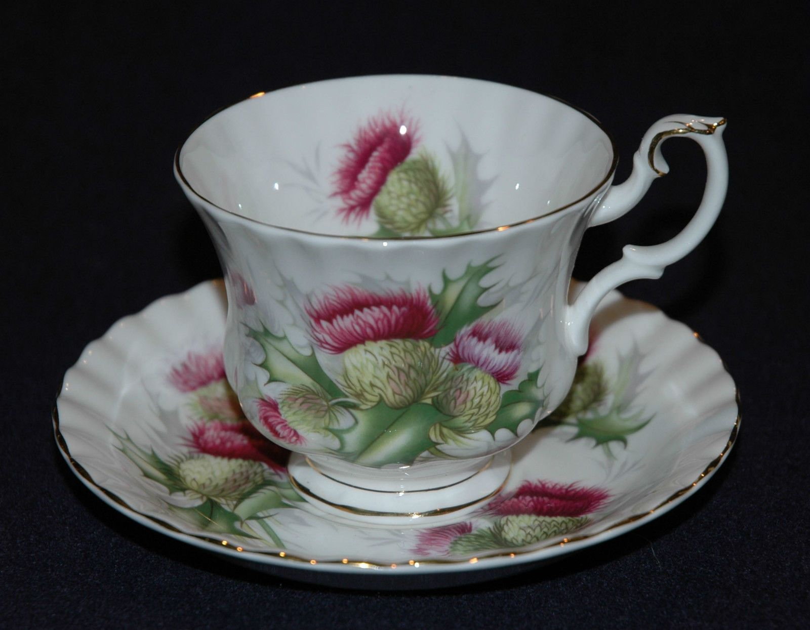 Royal Albert Highland Thistle Cup and Saucer Set Bone China Made in England | eBay