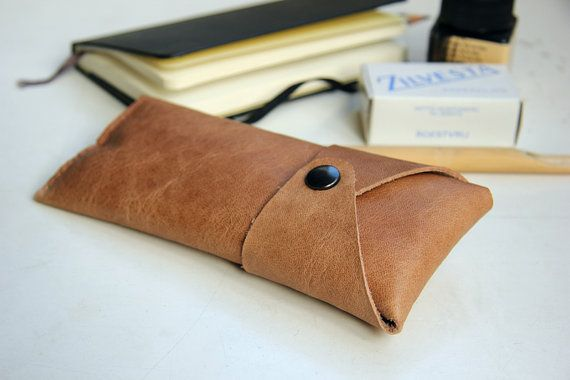 Leather case for pens or glasses Café latte light brown por rensz
